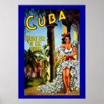 Vintage Cuban Dancer Girl Travel Poster