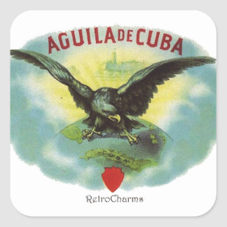 Vintage Cuban Eagle of Cuba Square Sticker