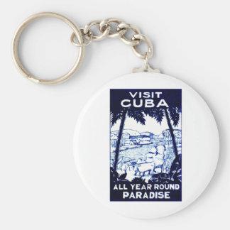 Vintage Cuban Travel Poster Basic Round Button Keychain