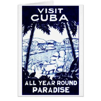 Vintage Cuban Travel Poster Greeting Card