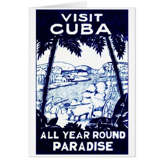 Vintage Cuban Travel Poster Card