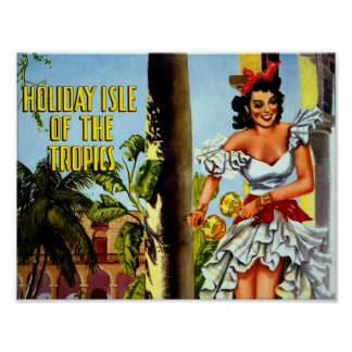 Vintage Cuban Travel Poster - Holiday Isle Tropics