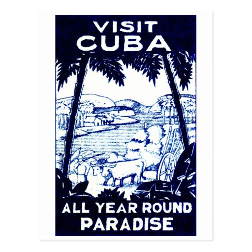 Vintage Cuban Travel Poster Post Card