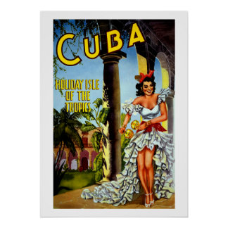 Vintage Cuban Travel Poster Tropics Holiday