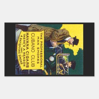 Vintage Cubano Club Cigars Rectangular Sticker