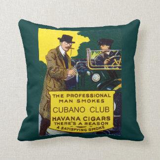 Vintage Cubano Club Cigars Throw Pillow