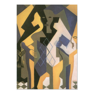 Vintage Cubism, Harlequin at a Table by Juan Gris 5x7 Paper Invitation Card