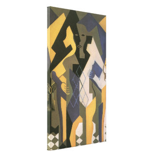 Vintage Cubism, Harlequin at a Table by Juan Gris Canvas Print