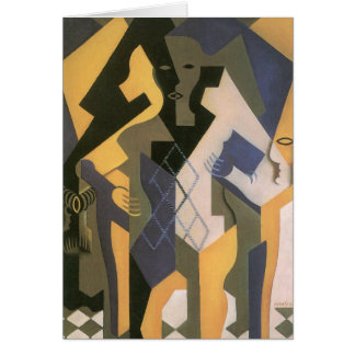 Vintage Cubism, Harlequin at a Table by Juan Gris Greeting Card