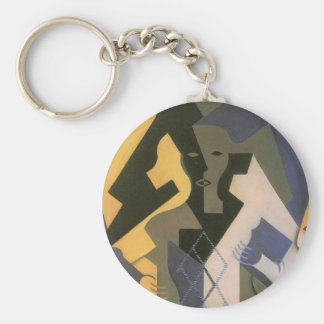 Vintage Cubism, Harlequin at a Table by Juan Gris Keychain