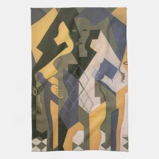 Vintage Cubism, Harlequin at a Table by Juan Gris Kitchen Towel