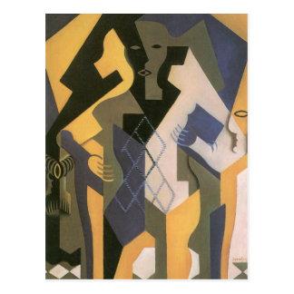 Vintage Cubism, Harlequin at a Table by Juan Gris Postcard