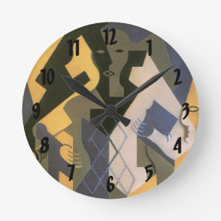 Vintage Cubism, Harlequin at a Table by Juan Gris Round Clock
