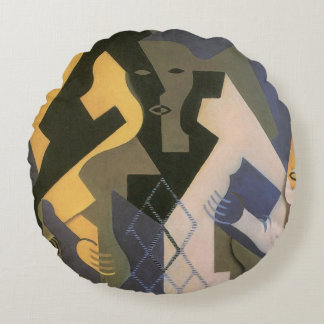 Vintage Cubism, Harlequin at a Table by Juan Gris Round Pillow
