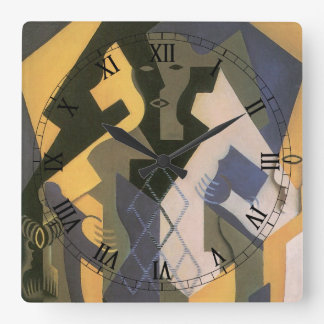 Vintage Cubism, Harlequin at a Table by Juan Gris Square Wall Clock