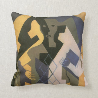 Vintage Cubism, Harlequin at a Table by Juan Gris Throw Pillow