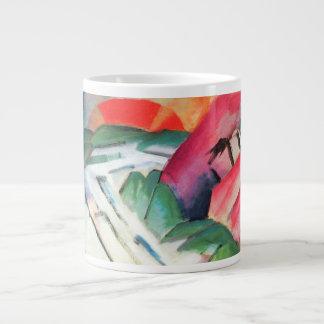 Vintage Cubism, Mountains Landscape by Franz Marc 20 Oz Large Ceramic Coffee Mug
