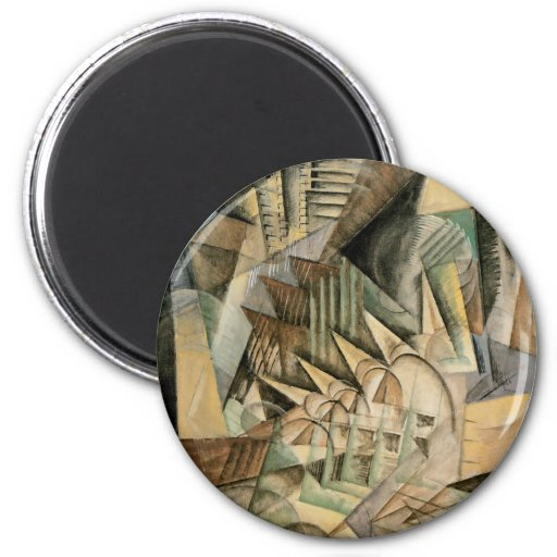 Vintage Cubism, Rush Hour, New York by Max Weber 2 Inch Round Magnet
