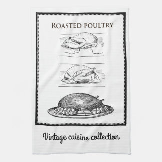 Vintage cuisine collection, roasted poultry towel