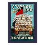 Vintage Cunard Line Ocean Liner Travel Card