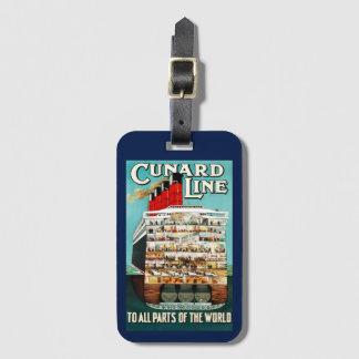 Vintage Cunard Line Ocean Liner Travel Luggage Tag