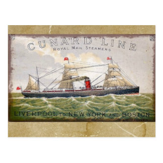 Vintage Cunard Line Royal Mail Steamers Postcard