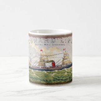 Vintage Cunard Line Steamer Ship Burlap Print Coffee Mug