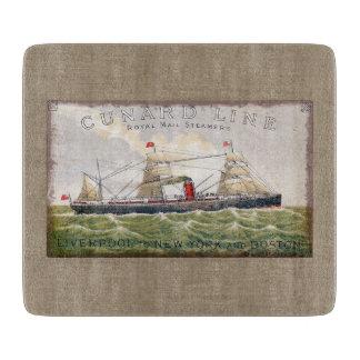 Vintage Cunard Line Steamer Ship Burlap Print Cutting Board