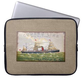 Vintage Cunard Line Steamer Ship Burlap Print Laptop Computer Sleeves