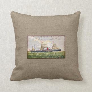 Vintage Cunard Line Steamer Ship Burlap Print Throw Pillow