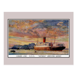 Vintage Cunard RMS Antonia at Quebec Post Card