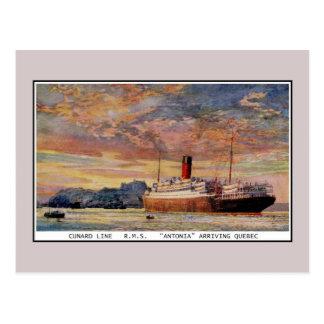 Vintage Cunard RMS Antonia at Quebec Postcard