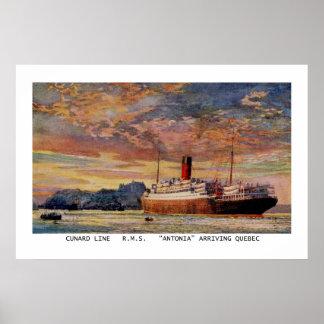 Vintage Cunard RMS Antonia at Quebec Poster
