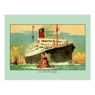 Vintage Cunard RMS Scythia Ocean liner art Postcard