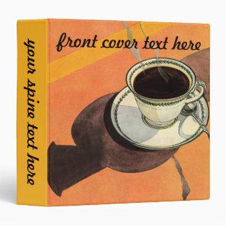 Vintage Cup of Coffee, Saucer, Spoon with Shadow Vinyl Binder