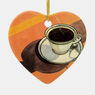 Vintage Cup of Coffee, Saucer, Spoon with Shadow Ceramic Ornament