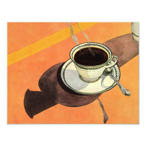 Vintage Cup of Coffee, Saucer, Spoon with Shadow 4.25x5.5 Paper Invitation Card