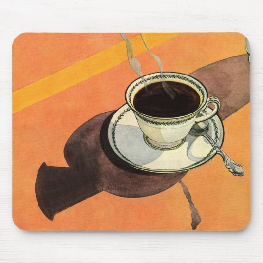 Vintage Cup of Coffee, Saucer, Spoon with Shadow Mouse Pad