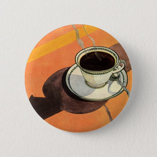 Vintage Cup of Coffee, Saucer, Spoon with Shadow Pinback Button