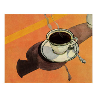 Vintage Cup of Coffee, Saucer, Spoon with Shadow Poster