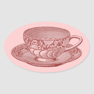 Vintage Cup Oval Sticker