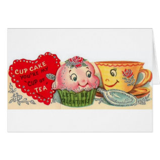 Vintage Cupcake And Teacup Valentine's Day Card at Zazzle