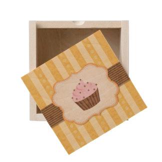 Vintage Cupcake Background Wooden Keepsake Box