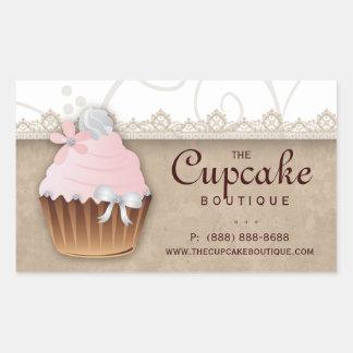 Vintage Cupcake Birthday Sticker Pink Beige