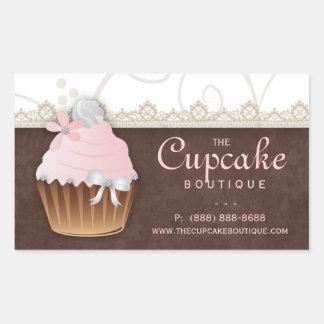 Vintage Cupcake Birthday Sticker Pink Brown