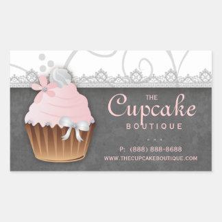 Vintage Cupcake Birthday Sticker Pink Gray