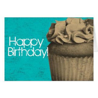 Vintage Cupcake Happy Birthday Card