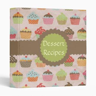 Vintage Cupcake Print Dessert Recipe 3 Ring Binder