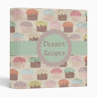 Vintage Cupcake Print Dessert Recipe Binder