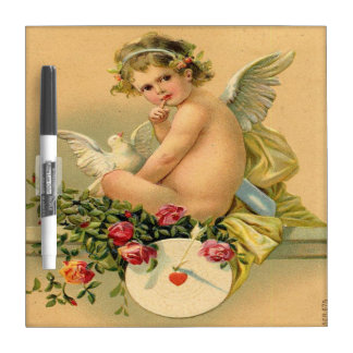 Vintage, Cupid Angel, Dove and Roses Dry Erase Board